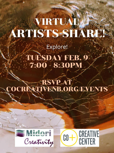 Poster for February Artists Share event