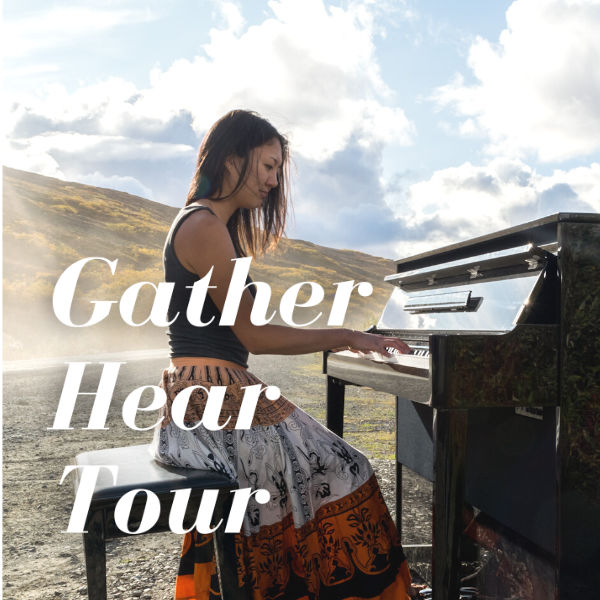 Asian woman at piano outdoors with Gather Hear Tour Text overlay