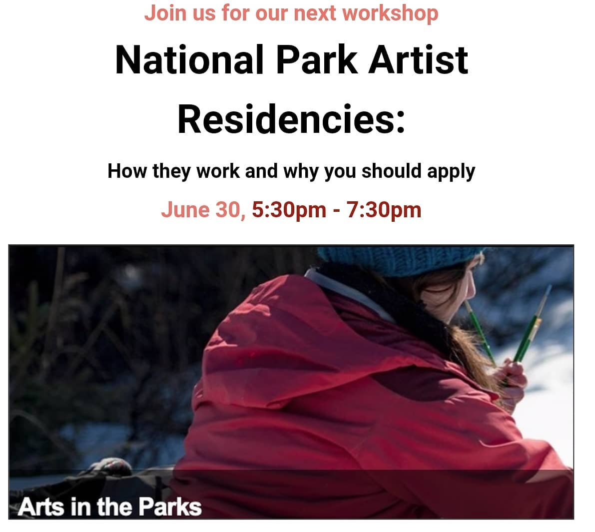 Text and image: National Park Artist Residencies - Woman creating art installation in the snow